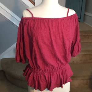 Raspberry, Peasant, Free People Shirt